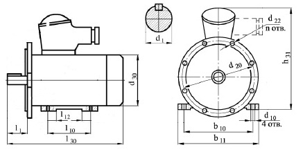 Электродвигатель АИММ250S2 габариты