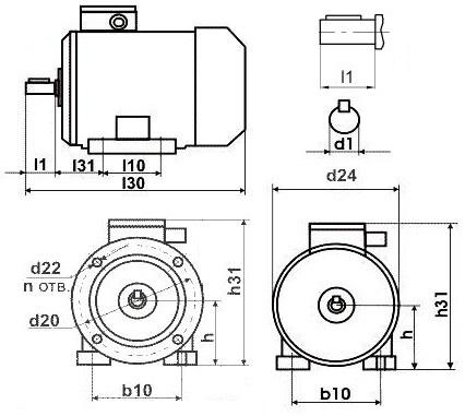 Габариты двигателя АИР 80В4