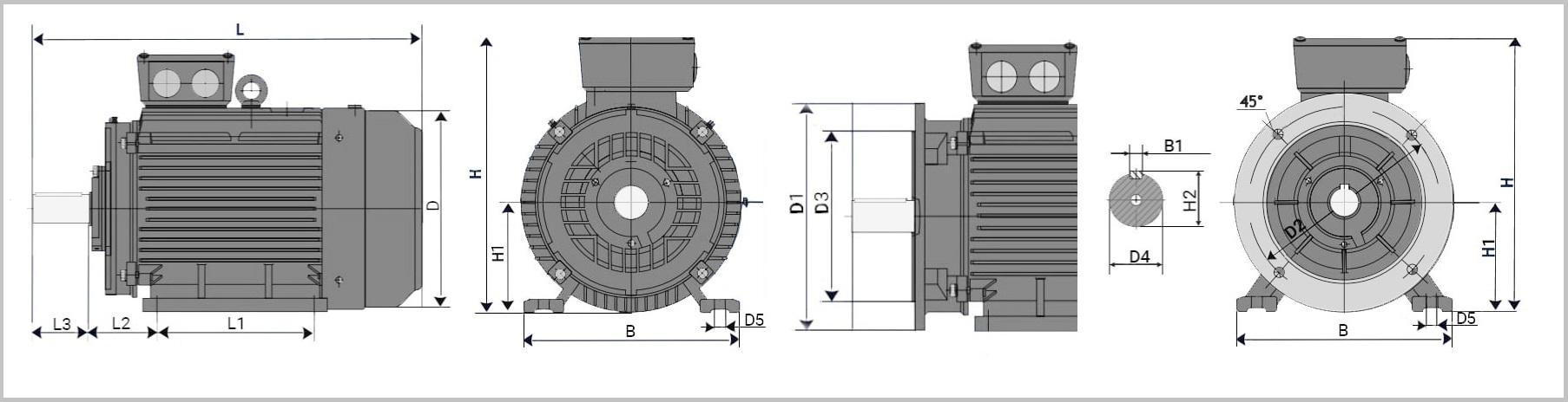 Чертеж, схема присоединительных, габаритных размеров электродвигателя АИР 71
