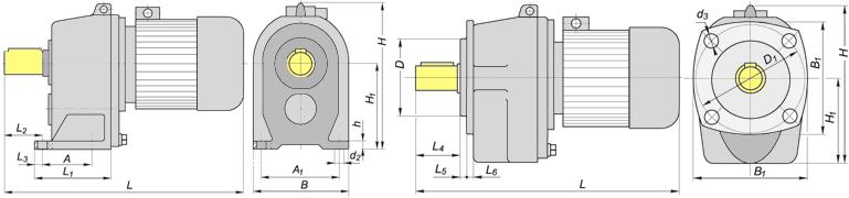 Чертеж и размеры цилиндрического мотор-редуктора МЦ2С100, 4МЦ2С-100