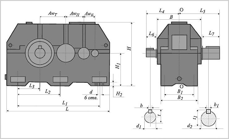 Чертеж и диаметр тихоходного и быстроходного вала редуктора ц3у-315