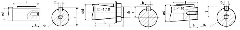 Чертеж цилиндрического и конического вала редуктора МЧ-125