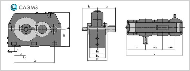 Габариты редуктора 1ц2н-500 чертеж