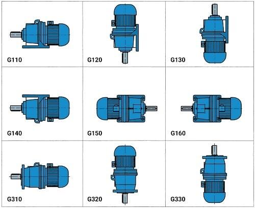 Монтажное исполнение мотор-редукторов 3МП