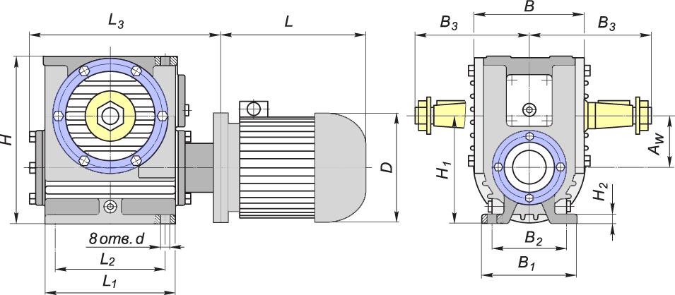 габаритные размеры червячного мотор-редуктора мч