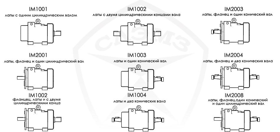 монтажные исполнения крановых электродвигателей мтн и мткн