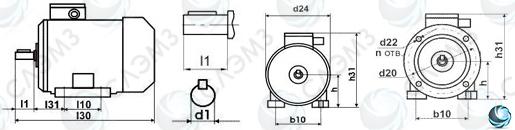 чертеж электродвигателя 55/3000 с габаритными размерами