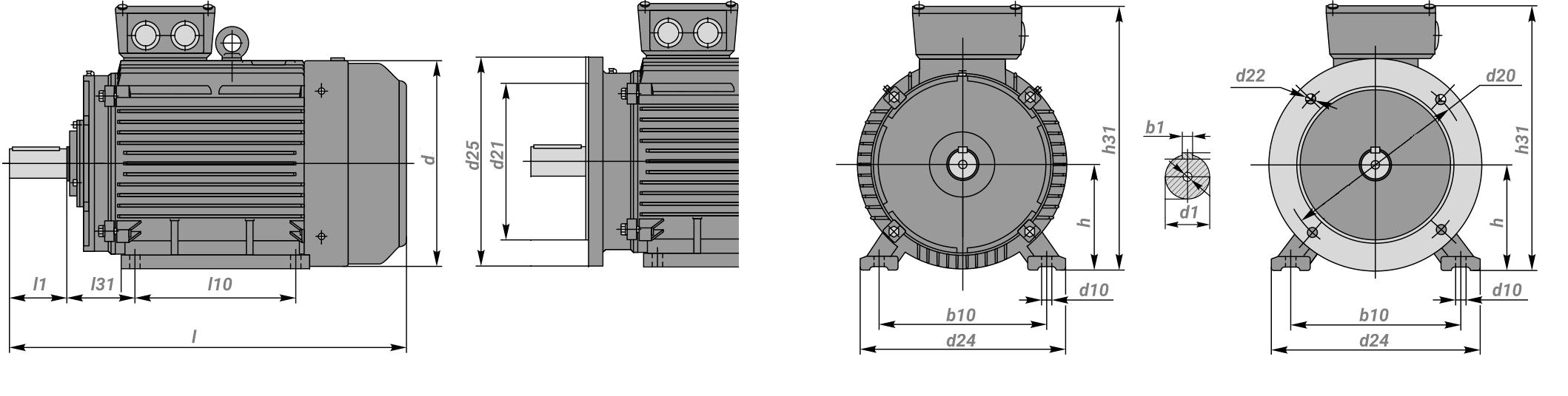 габаритные размеры электродвигателей 4А250s2, 4АМ250s2, 5АМ250s2 длина вала