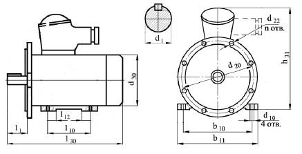 чертеж и габаритные размеры электродвигателя АИММ90LB4 и АИМ 90LB4