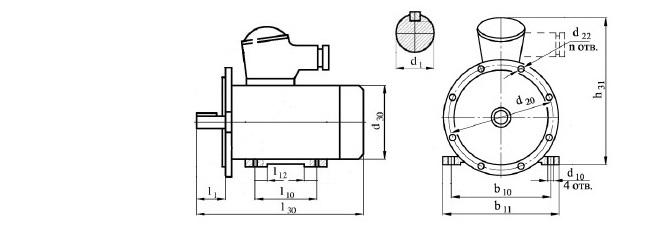 Электродвигатель ВА160М4 габаритные размеры, диаметр вала