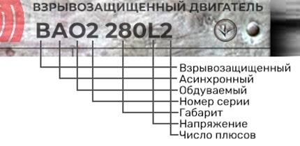 Электродвигатель ВАО2 280 L2 расшифровка маркировки