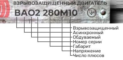 Электродвигатель ВАО2 280 М10 расшифровка маркировки