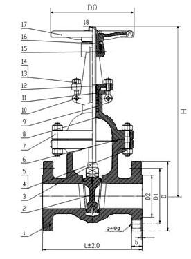 Чертеж задвижки  30с64нж Ду-150 Ру-25