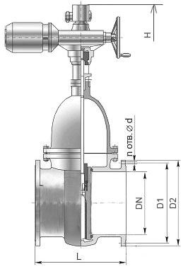 Чертеж стальной клиновой задвижки 30с941нж Ду-200 Ру-16 с электроприводом