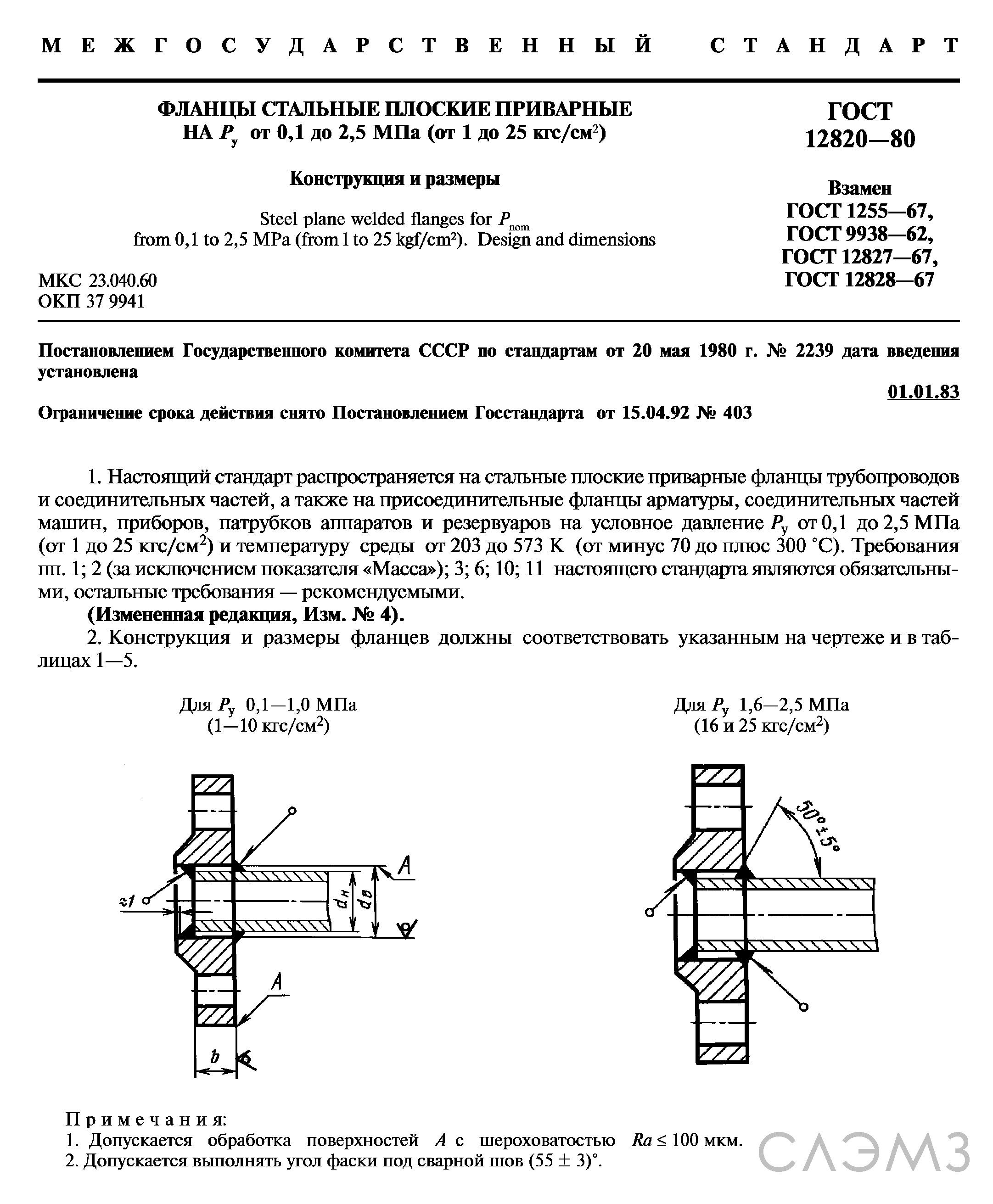 Фланец стальной ГОСТ 12820-80 80