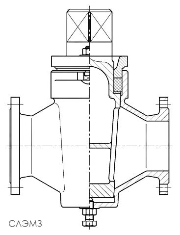 Чертеж размеры чугунного газового пробкового крана 11ч3бк Ду-65 Ру-1