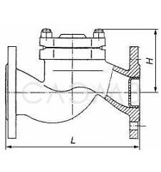 Чертеж размеры мм обратного клапана 16ч6п Ду-150 Ру-16 подъемный мм габаритные размеры