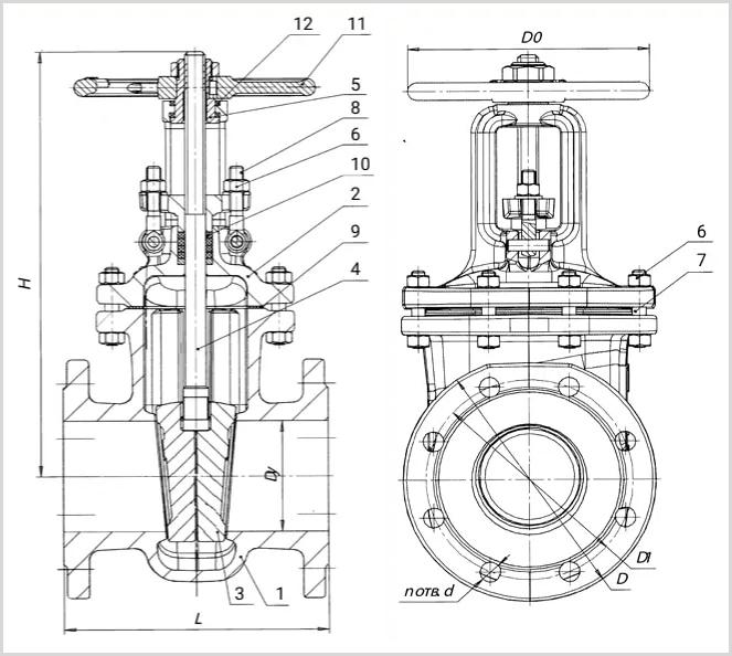 Чертеж размеры стальной нержавеющей задвижки 30нж41нж Ду-50 Ру-16