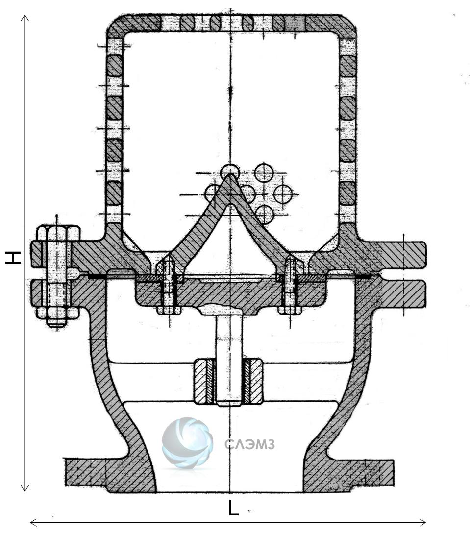 Чертеж размеры мм приемного клапана 16ч42р Ду-80 Ру-2,5 с сеткой мм габаритные размеры