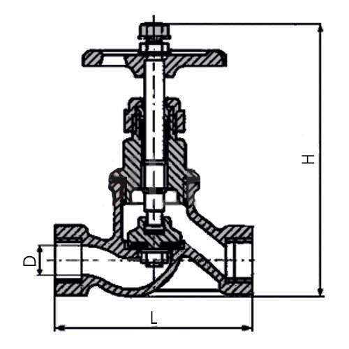 Чертеж размеры чугунного муфтового вентиля 15кч18п Ду-40 Ру-16