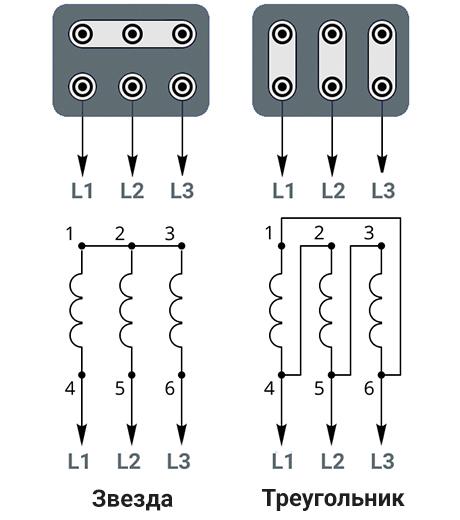 Схема подключения АИР 132 М4 звездой 380В и треугольником 220В