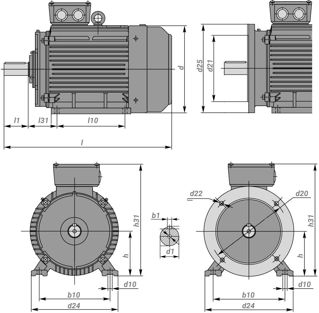 Габаритные размеры электродвигателя АИР132М4 - чертеж, диаметр вала, фланца
