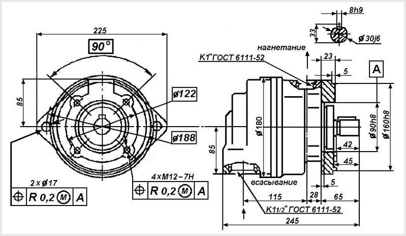 чертеж и размеры гидравлического пластинчатого насоса Г12-24 и Г12-24М