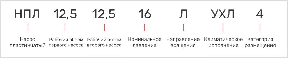 расшифровка маркировки одноотводного поршневого насоса 50НР-63 и двухотводного 50НР63/2