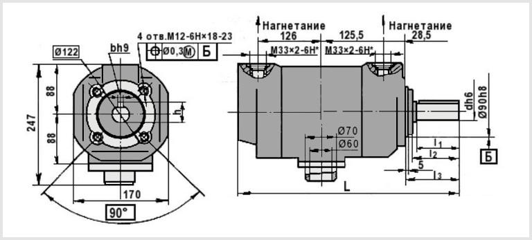 чертеж и размеры гидравлического пластинчатого насоса нпл 45-45/16