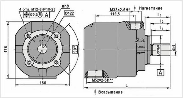 чертеж и размеры гидравлического пластинчатого насоса нпл 56/16. Рисунок