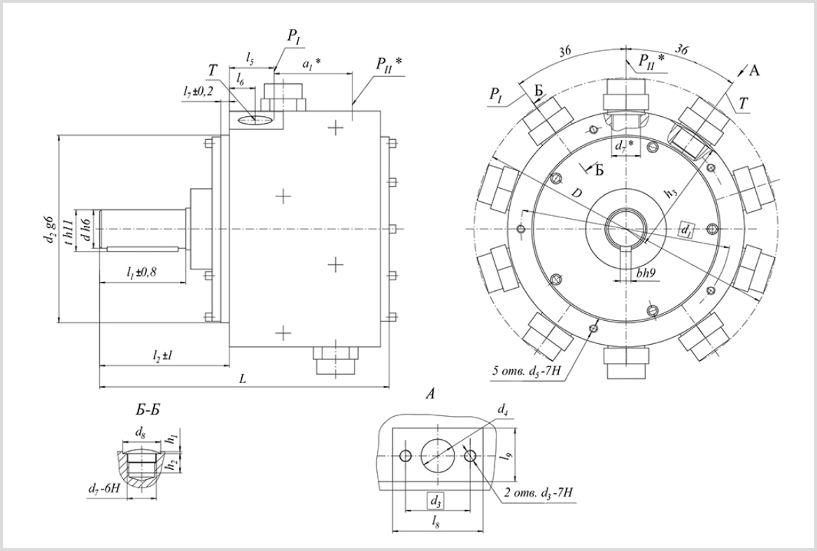 чертеж и размеры гидравлического масляного насоса 50НР 32