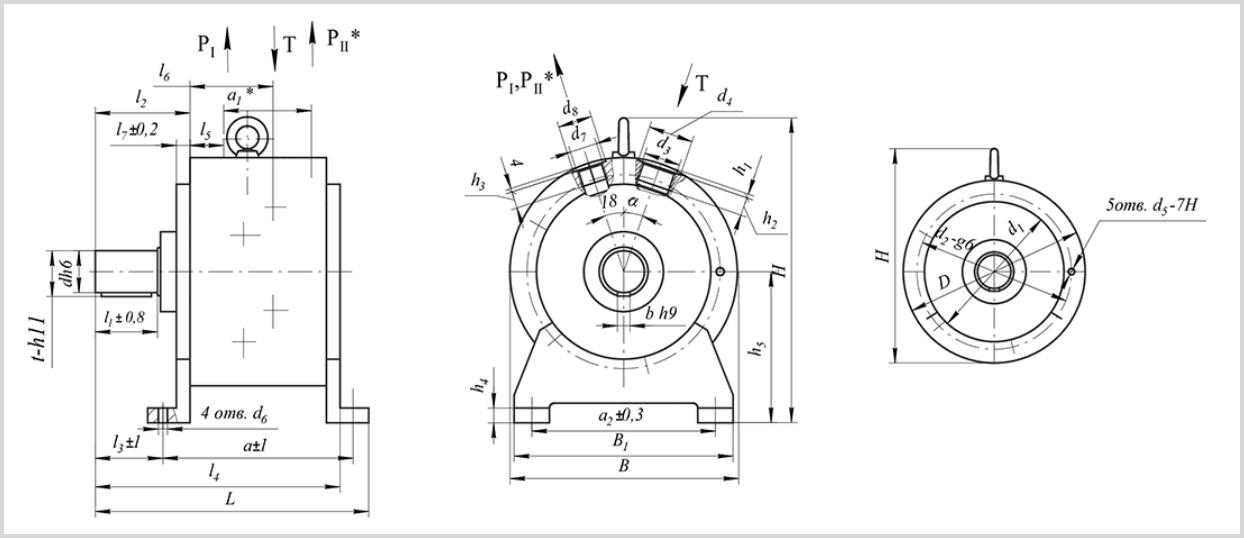 чертеж и размеры гидравлического масляного насоса 50НР 63
