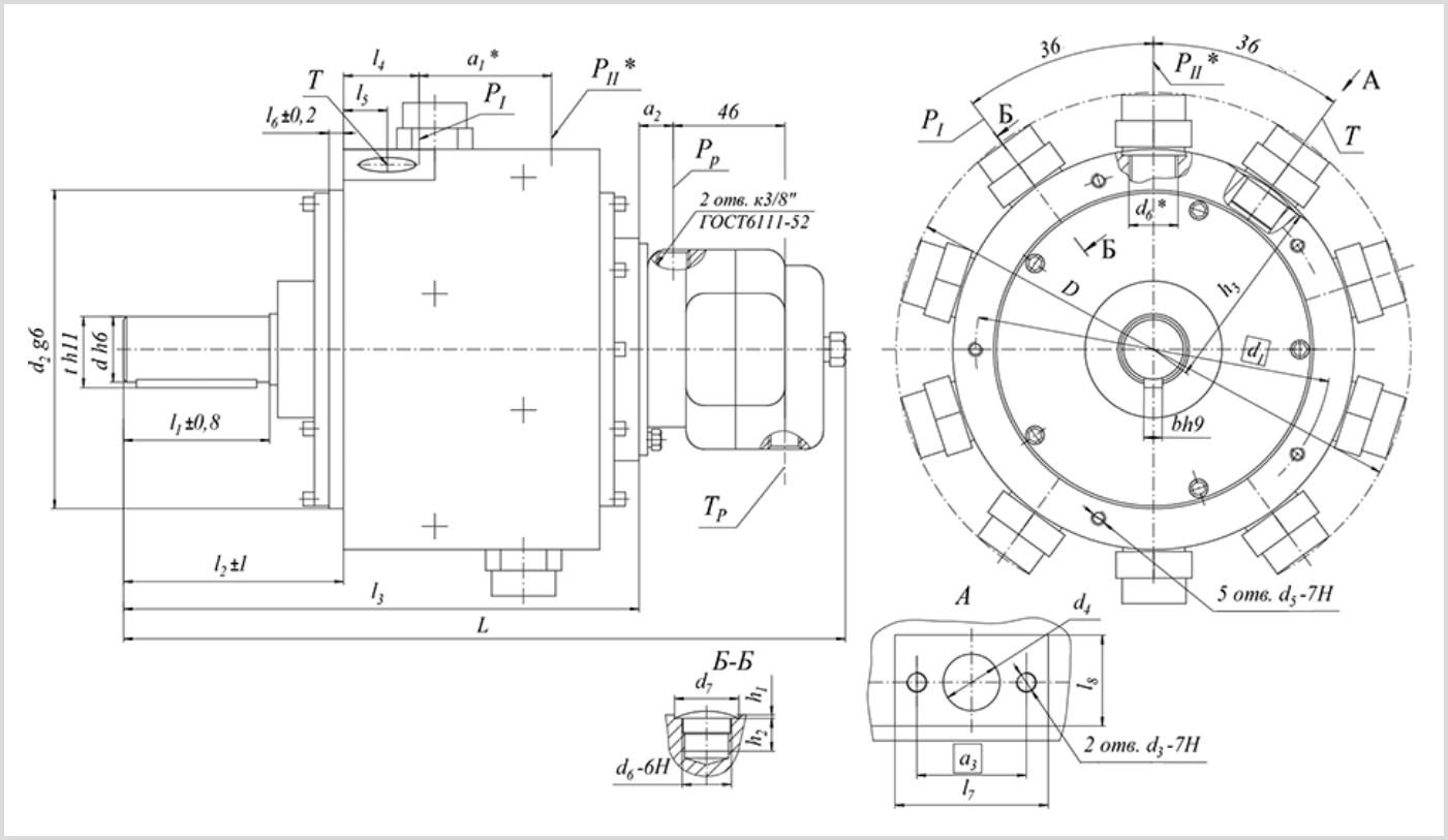 чертеж и размеры гидравлического секционного насоса 50НС14