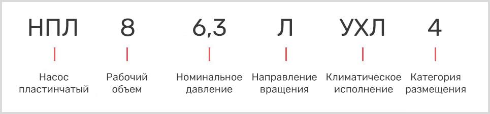 расшифровка маркировки пластинчатого однопоточного насоса нпл 8/6,3