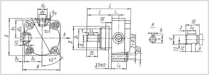 чертеж и размеры пластинчатого смазочного насоса С12, С12-5М, С12-5