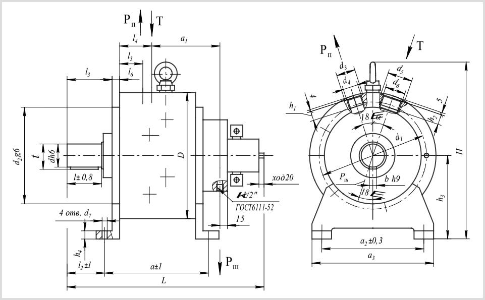 чертеж и размеры гидравлического насоса 50НРР 500