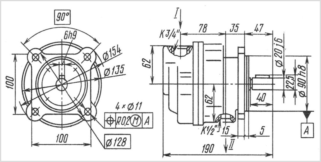 чертеж и размеры гидравлического шестеренчатого насоса Г11-24А УХЛ-4