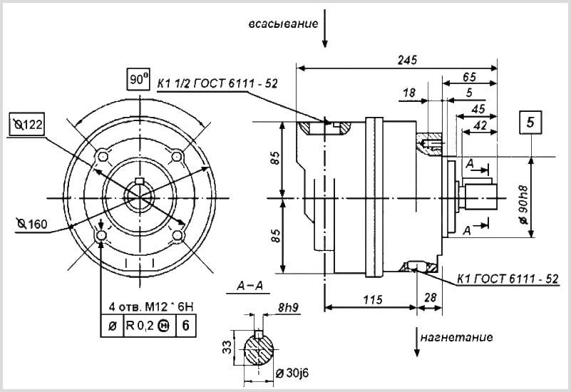 чертеж пластинчатого насоса бг12 однопоточный габарит 2