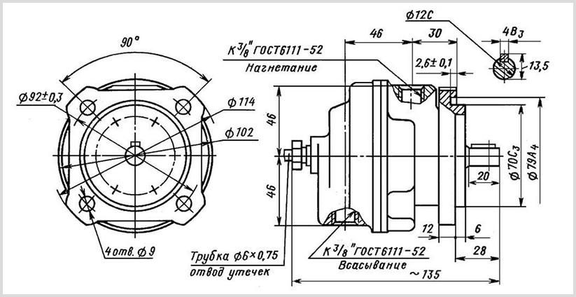 чертеж и размеры гидравлического пластинчатого насоса БГ12-41А УХЛ-4