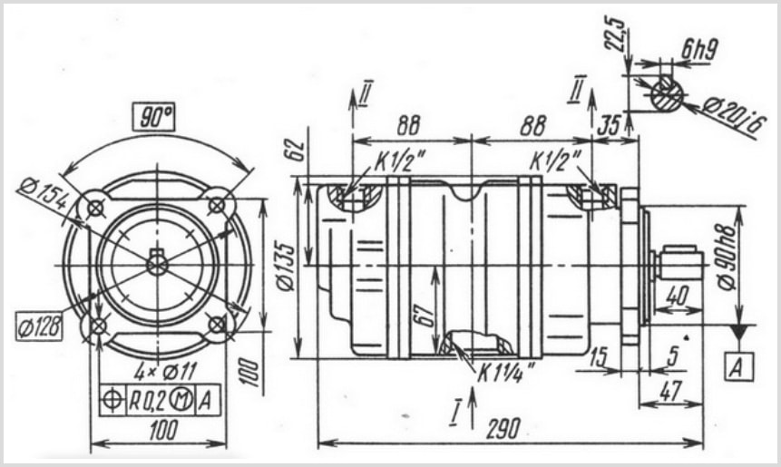 чертеж и размеры гидравлического пластинчатого насоса 18БГ12-23М УХЛ-4