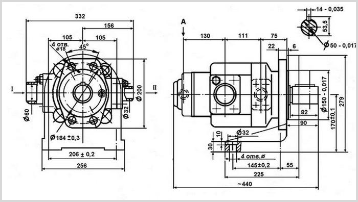 чертеж и размеры гидравлического пластинчатого насоса 35Г12-25М