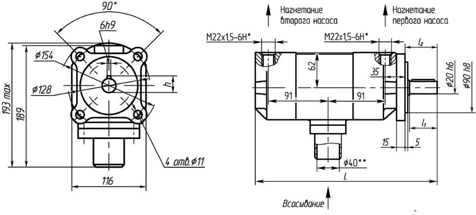 габаритно-присоединительные размеры пластинчатого гидронасоса НПЛ габарита 1+1