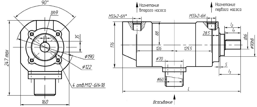 размеры и чертеж двухпоточного масляного насоса НПЛ габарита 2+2 из паспорта изготовителя