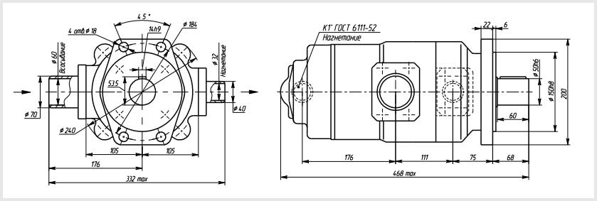 чертеж и размеры гидравлического пластинчатого насоса 100Г12-25М