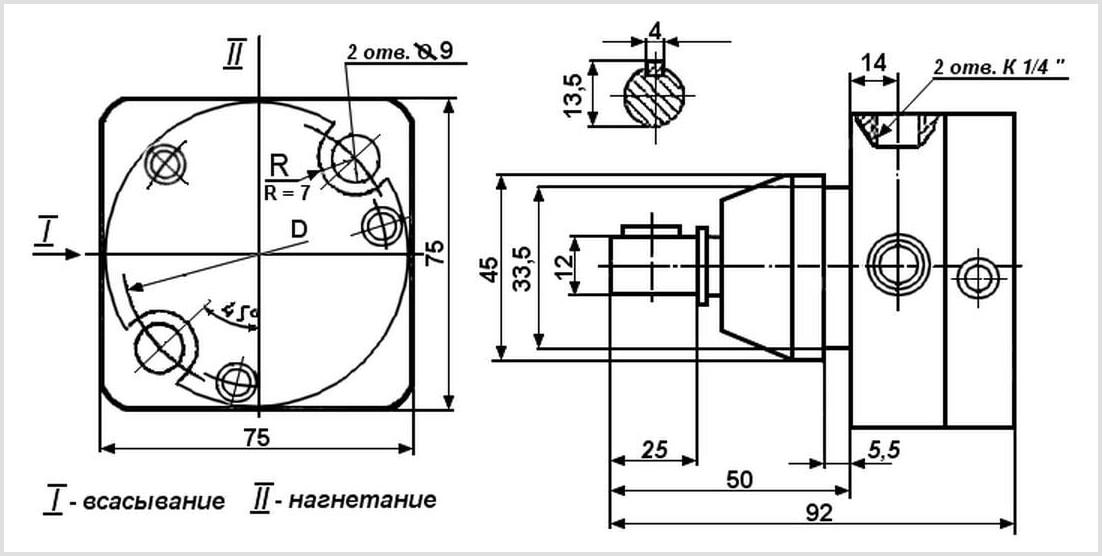 Чертеж и габаритные размеры шиберного насоса С 12-41 с реверсивным устройством