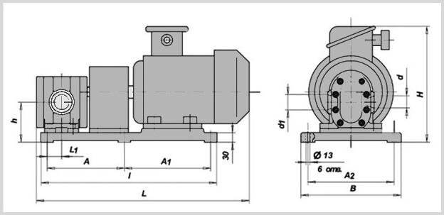 чертеж гидравлического шестеренного насоса бг11-2