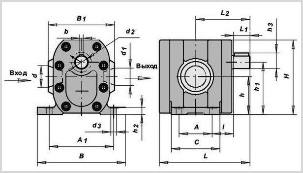 чертеж гидронасоса г11-2 (А)