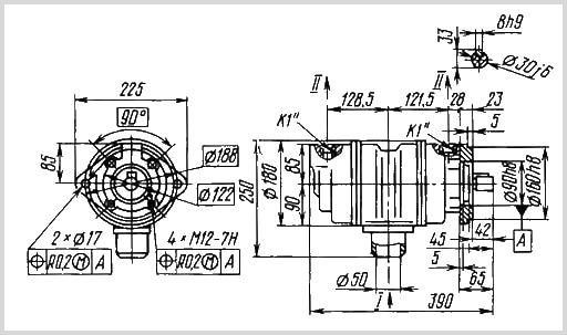 чертеж и размеры гидравлического пластинчатого насоса 70Г12-24М