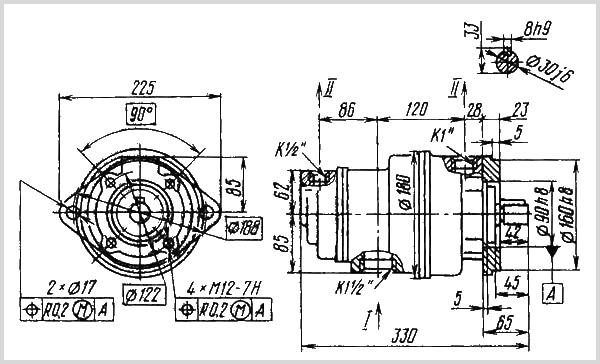 чертеж и размеры гидравлического пластинчатого насоса 25Г12-24М
