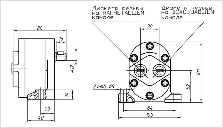 чертеж и габаритные размеры шестеренчатого насоса Г11